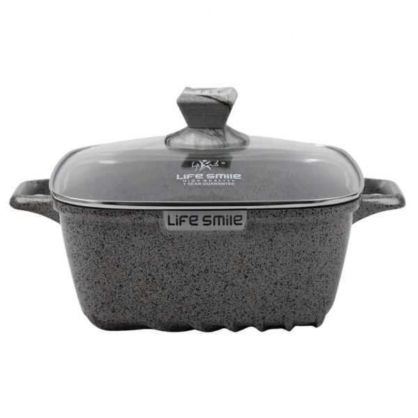 Buy Square Soup Pot with Granite Coating – Gray, 16 online