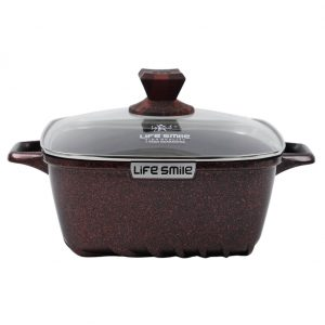 Buy Square Soup Pot with Granite Coating – Red, 16 online