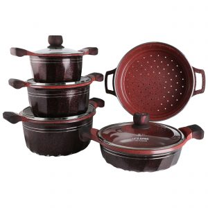 Buy 9PCS Non Stick Cookware Set – Red online