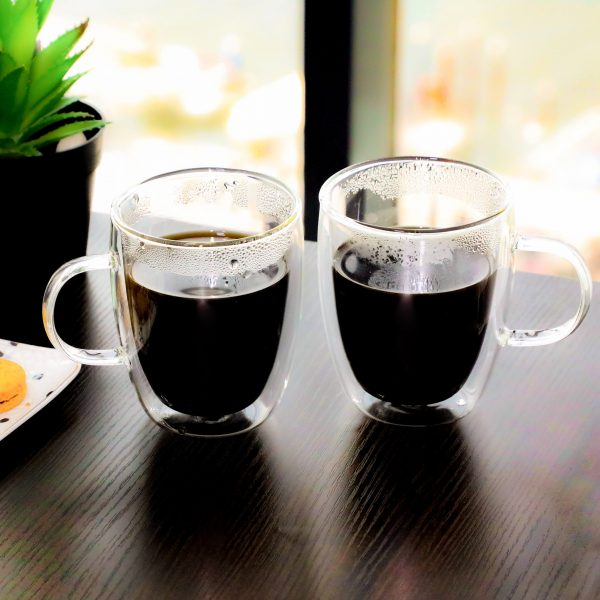 Buy 2 PCS Double Walled Glass Tea Cup online